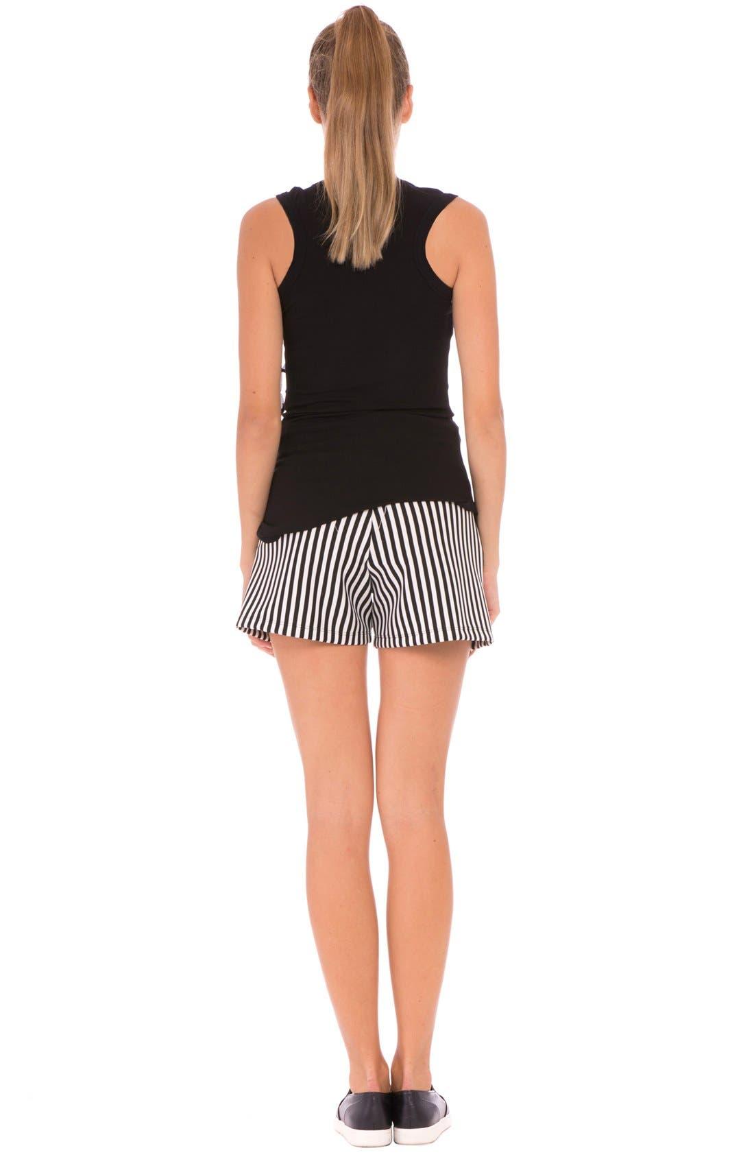 'Megan' Stripe Maternity Shorts,                             Alternate thumbnail 2, color,                             Black