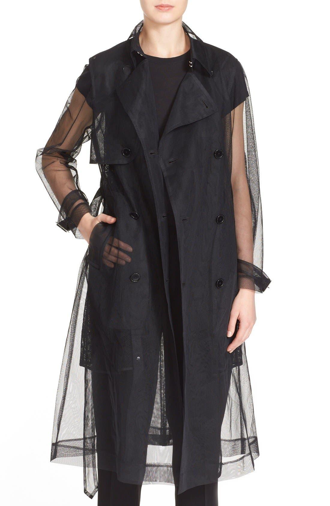 Alternate Image 1 Selected - noir kei ninomiya Sheer Tulle Trench Coat