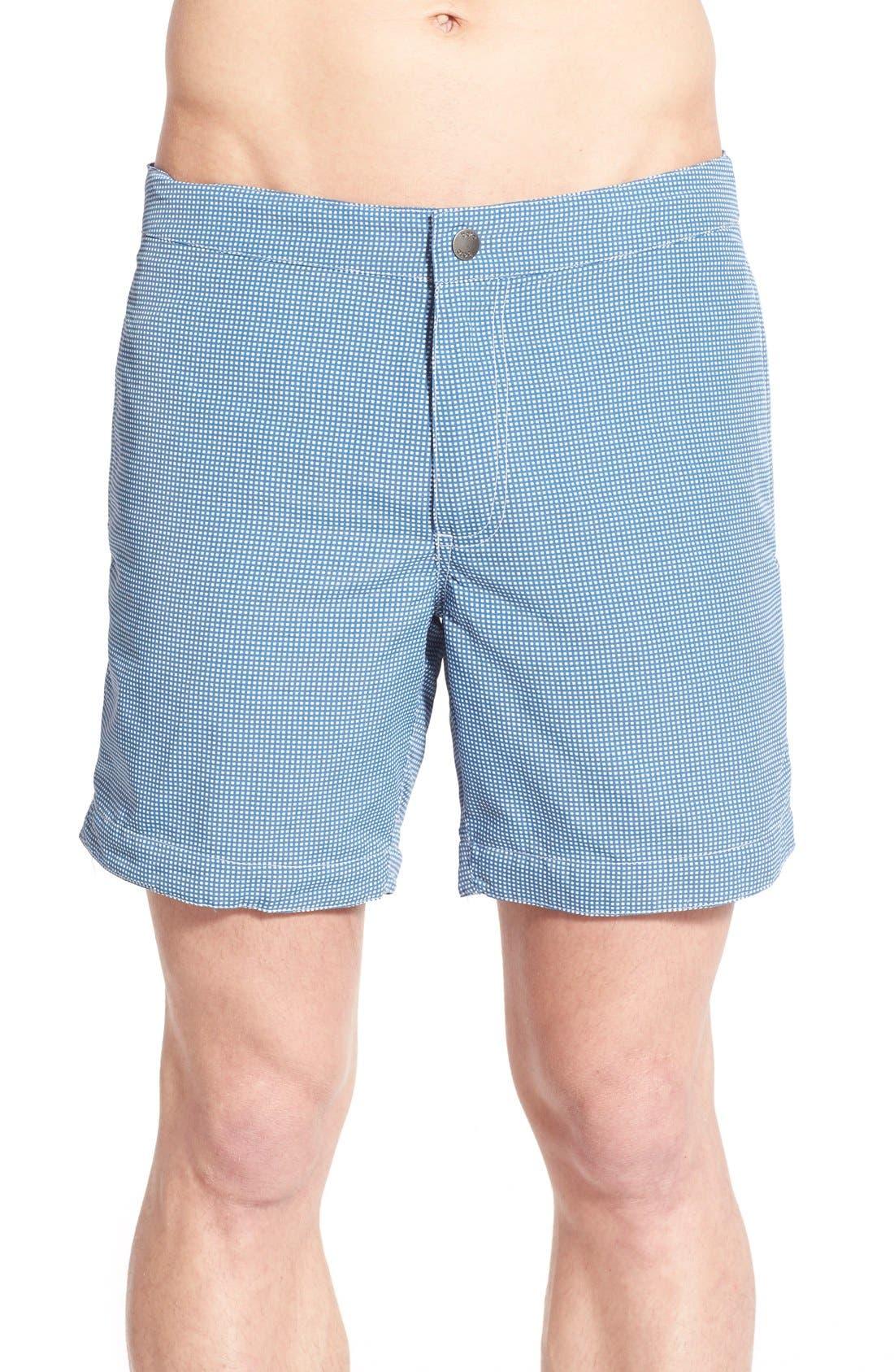 Aruba Tailored Fit Microcheck Swim Trunks,                             Main thumbnail 1, color,                             Micro Square Ash Blue
