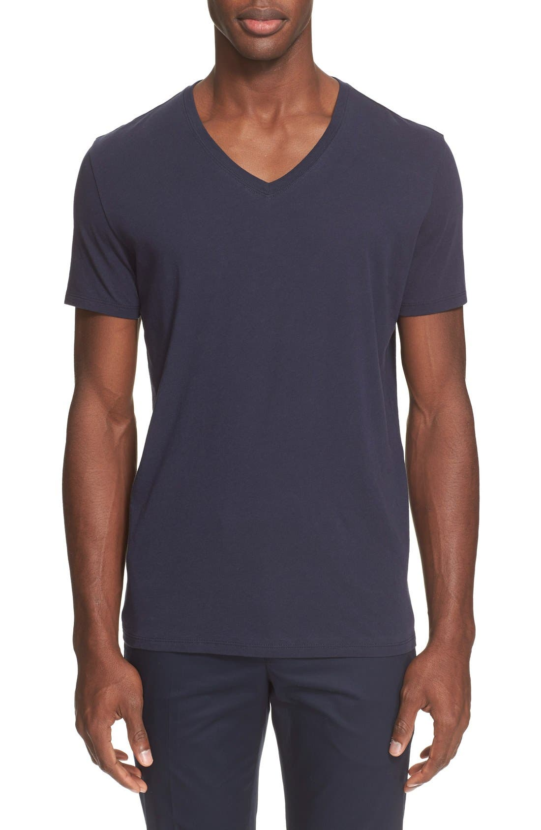 Cotton Jersey V-Neck T-Shirt,                             Main thumbnail 1, color,                             Navy