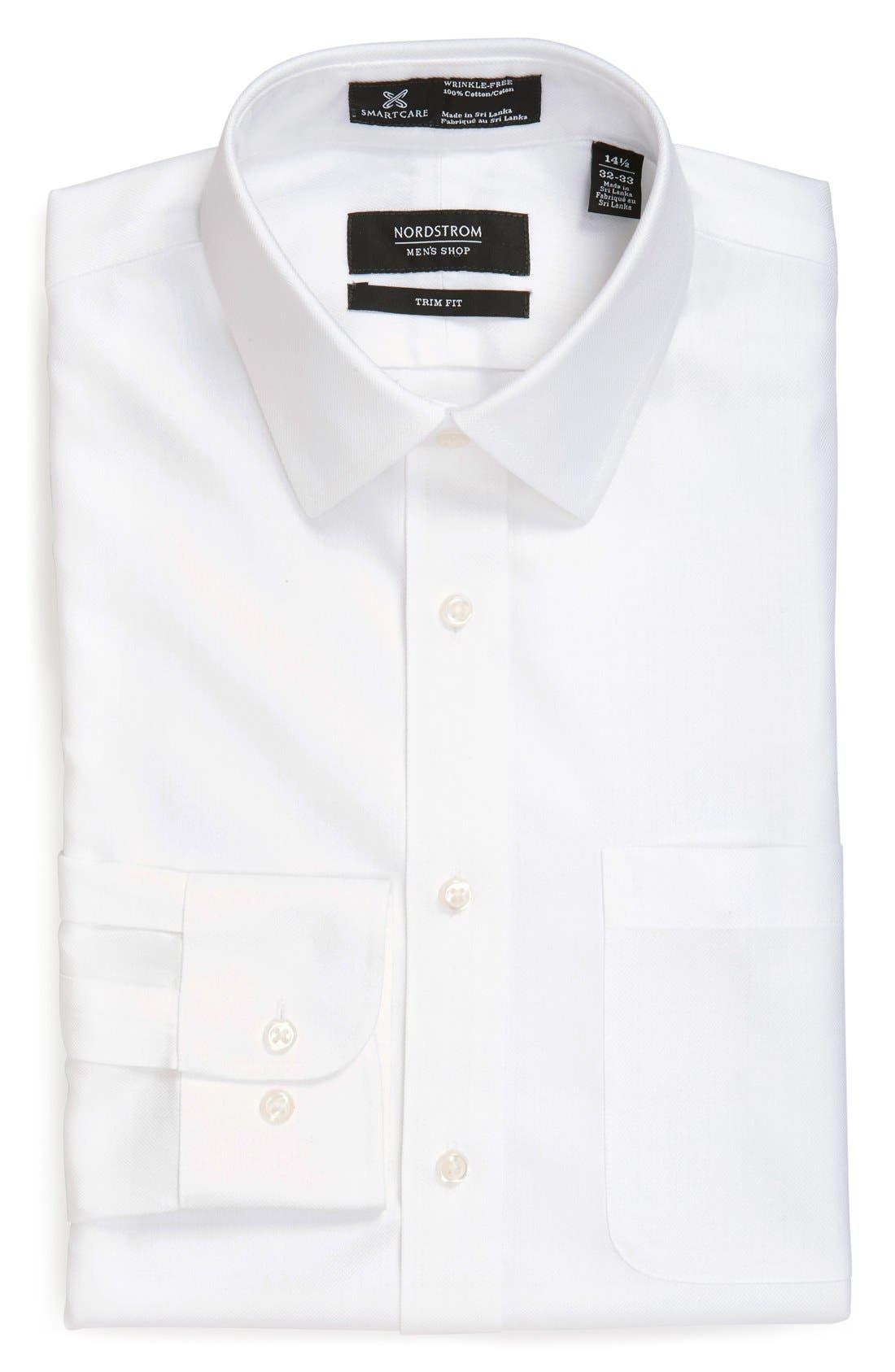 Nordstrom Men's Shop Smartcare™ Trim Fit Herringbone Dress Shirt