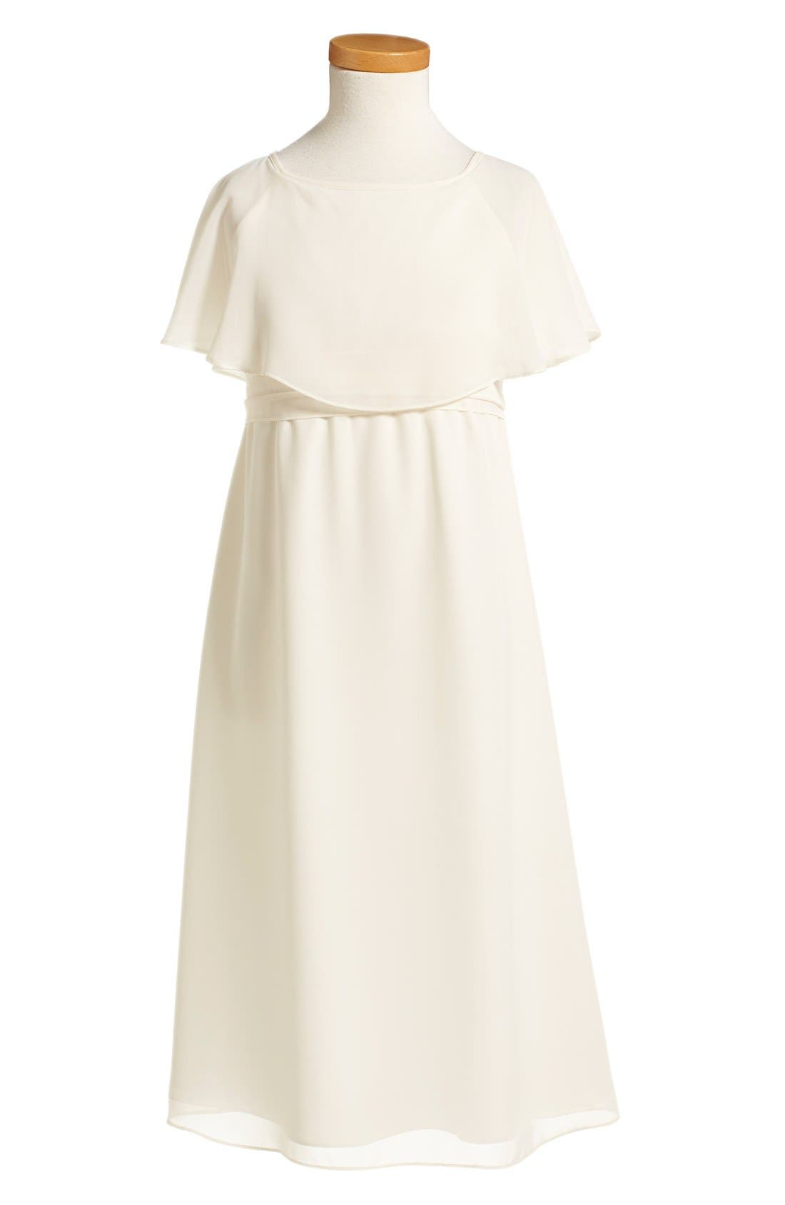 Flutter Sleeve Long Chiffon A-Line Dress,                             Alternate thumbnail 2, color,                             Going To The Chapel