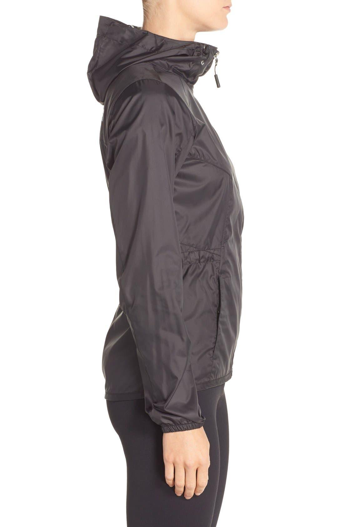 'Flyweight' Hooded Jacket,                             Alternate thumbnail 3, color,                             Tnf Black