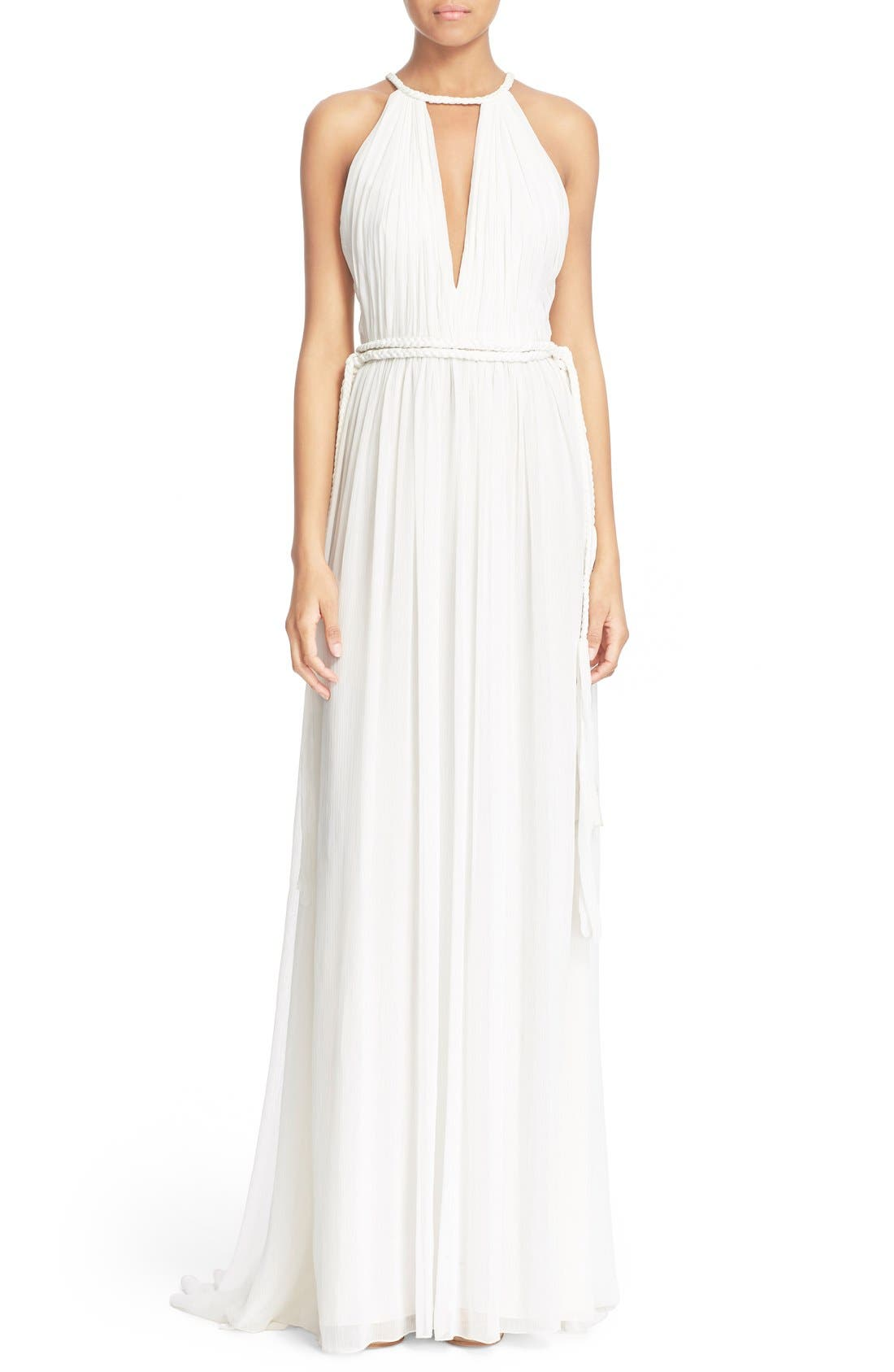 'Naomi' Pleated Goddess Gown,                             Main thumbnail 1, color,                             Off White