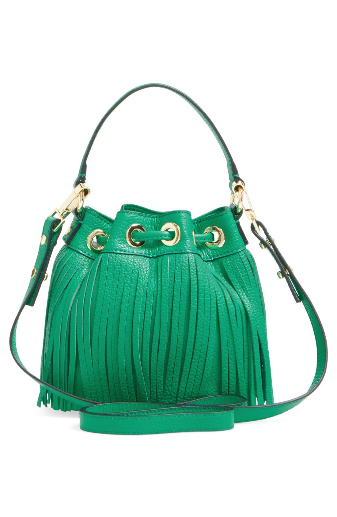 Fringed Leather Bucket Bag,                             Alternate thumbnail 3, color,                             Jade