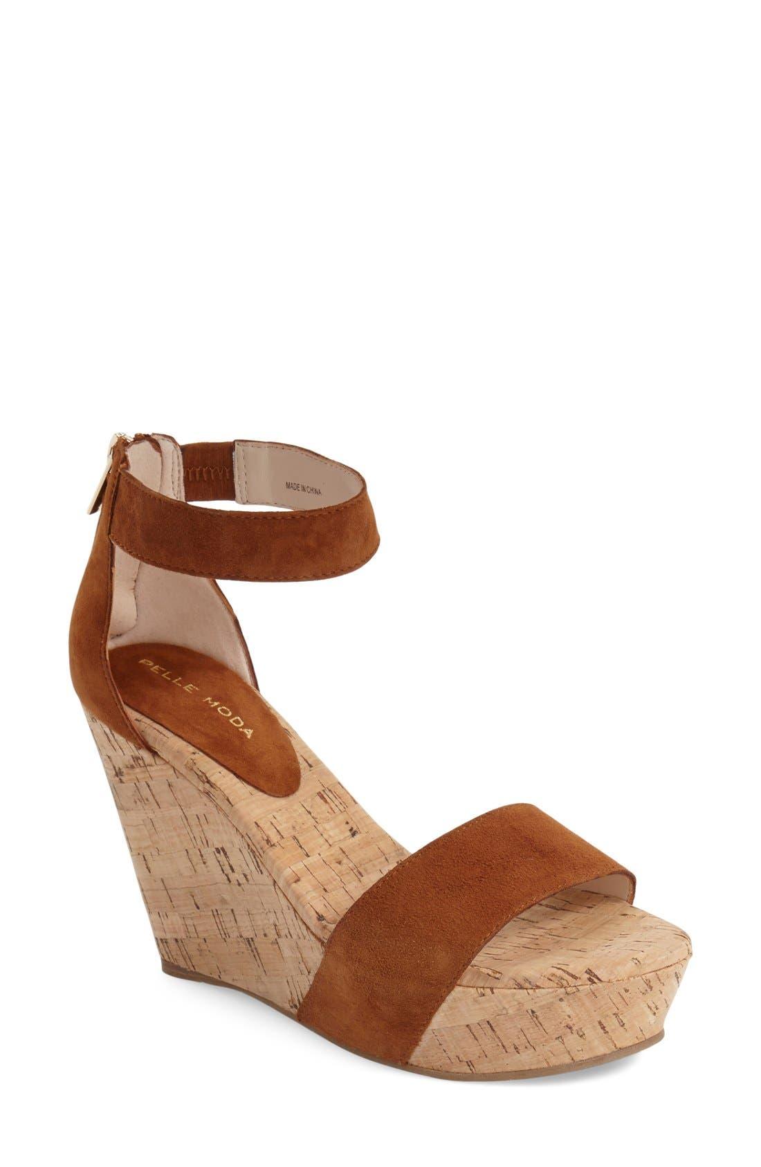 'Clare' Sandal,                             Main thumbnail 1, color,                             Cognac Leather