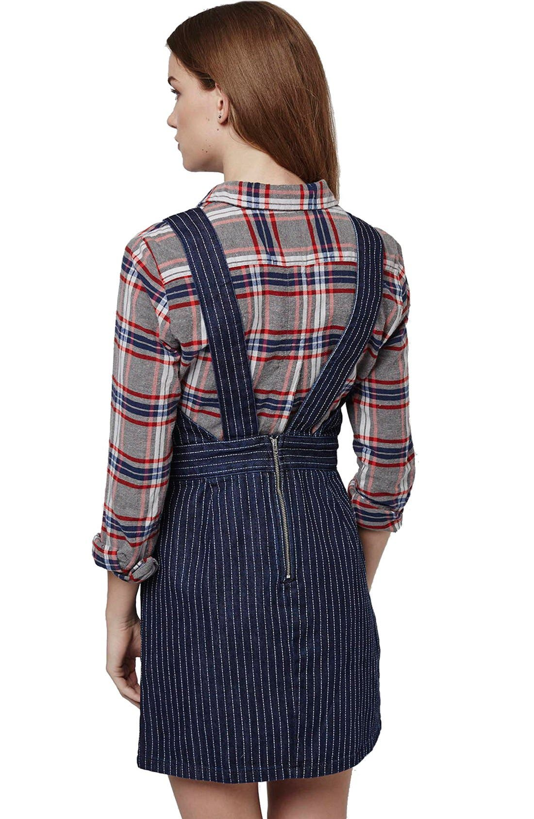 Alternate Image 3  - Topshop Pinstripe Denim Pinafore Dress