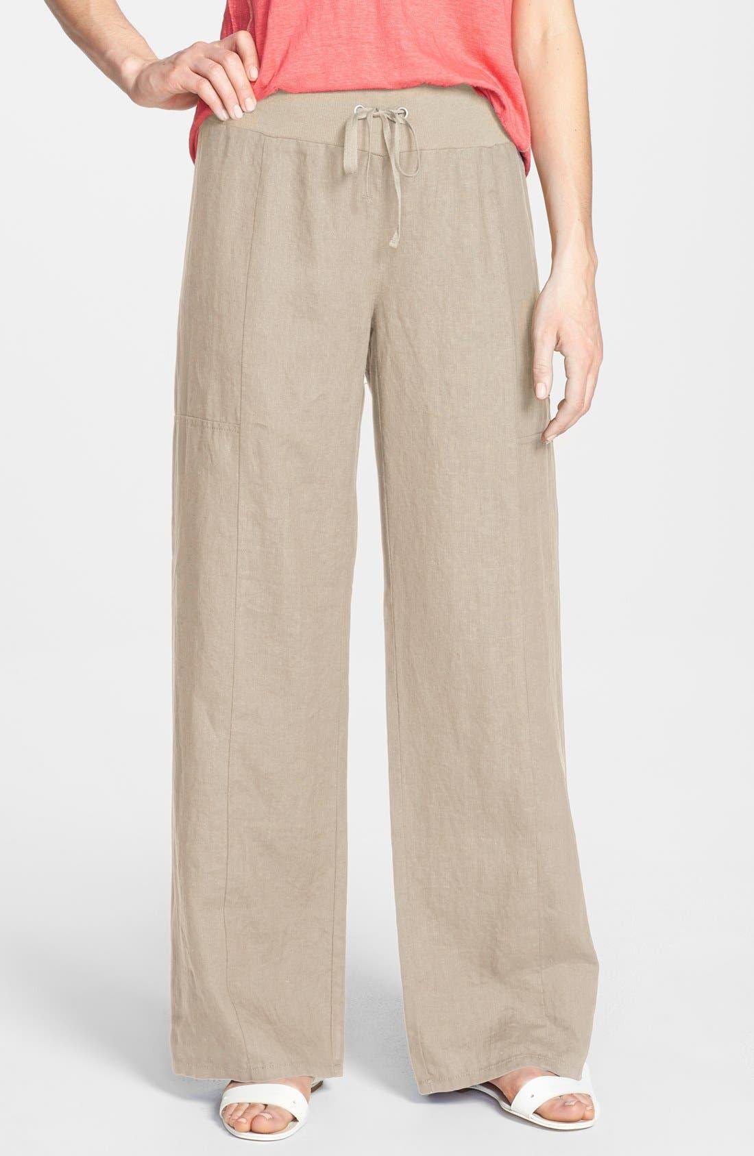 Alternate Image 1 Selected - Eileen Fisher Wide Leg Linen Pants (Regular & Petite) (Online Only)
