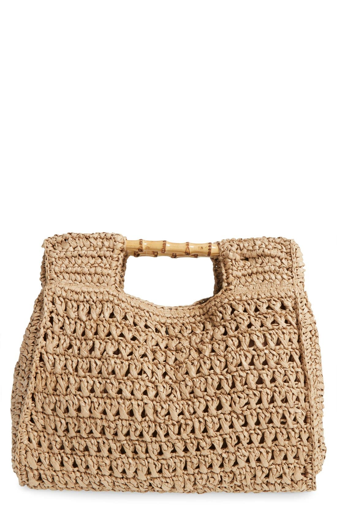 Woven Straw Tote,                             Main thumbnail 1, color,                             Natural