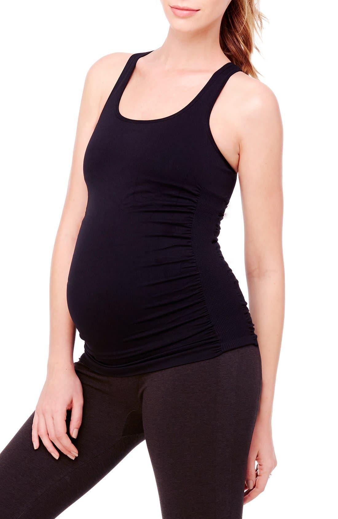 Seamless Active Maternity Tank,                             Main thumbnail 1, color,                             Jet Black