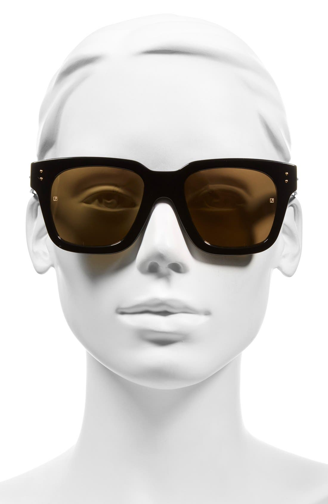 'D-Frame' 52mm Mirrored Lens Sunglasses,                             Alternate thumbnail 2, color,                             Black/ Gold