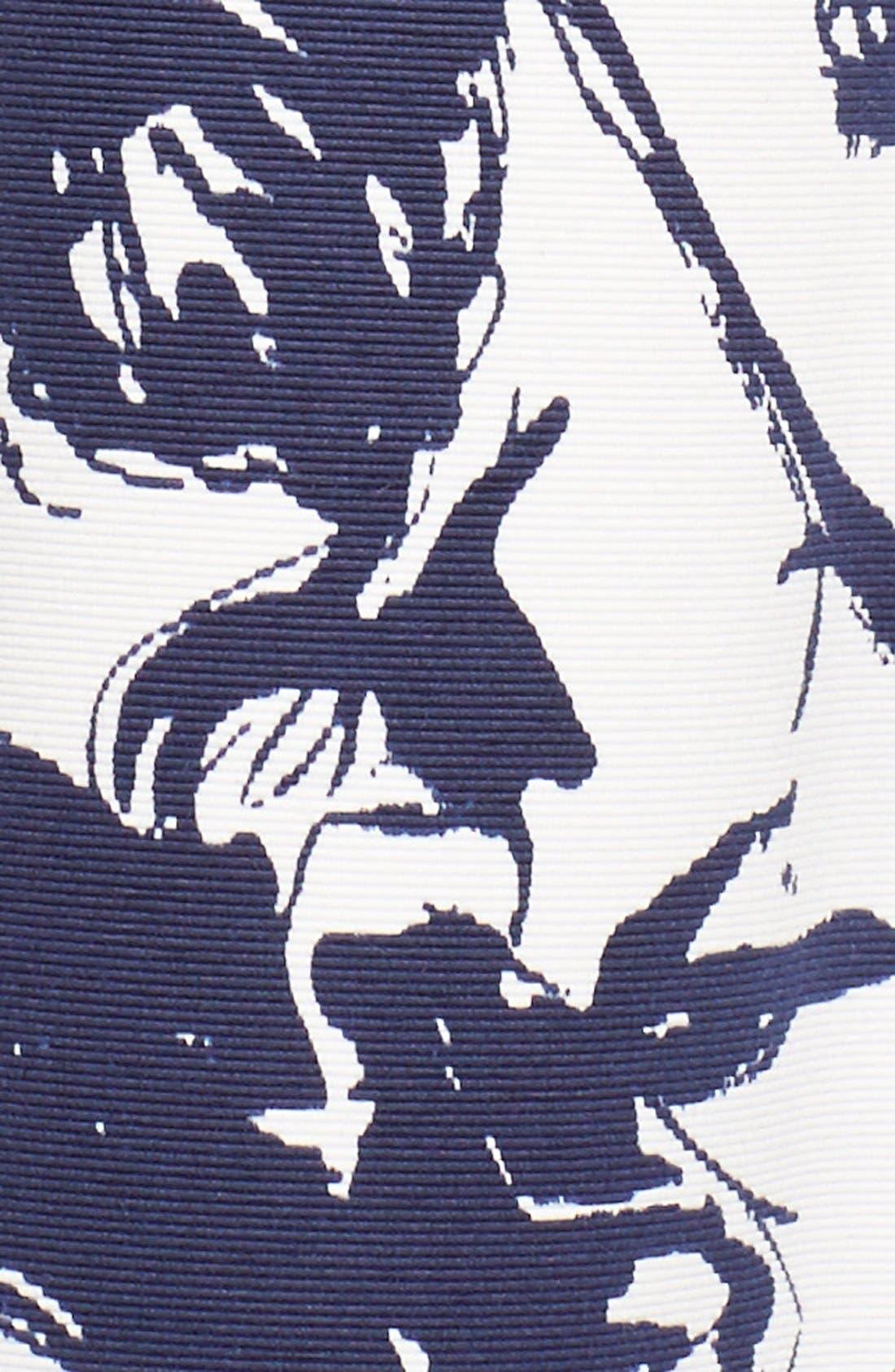 Floral Print Faille Midi Dress,                             Alternate thumbnail 6, color,                             Navy/ Ivory