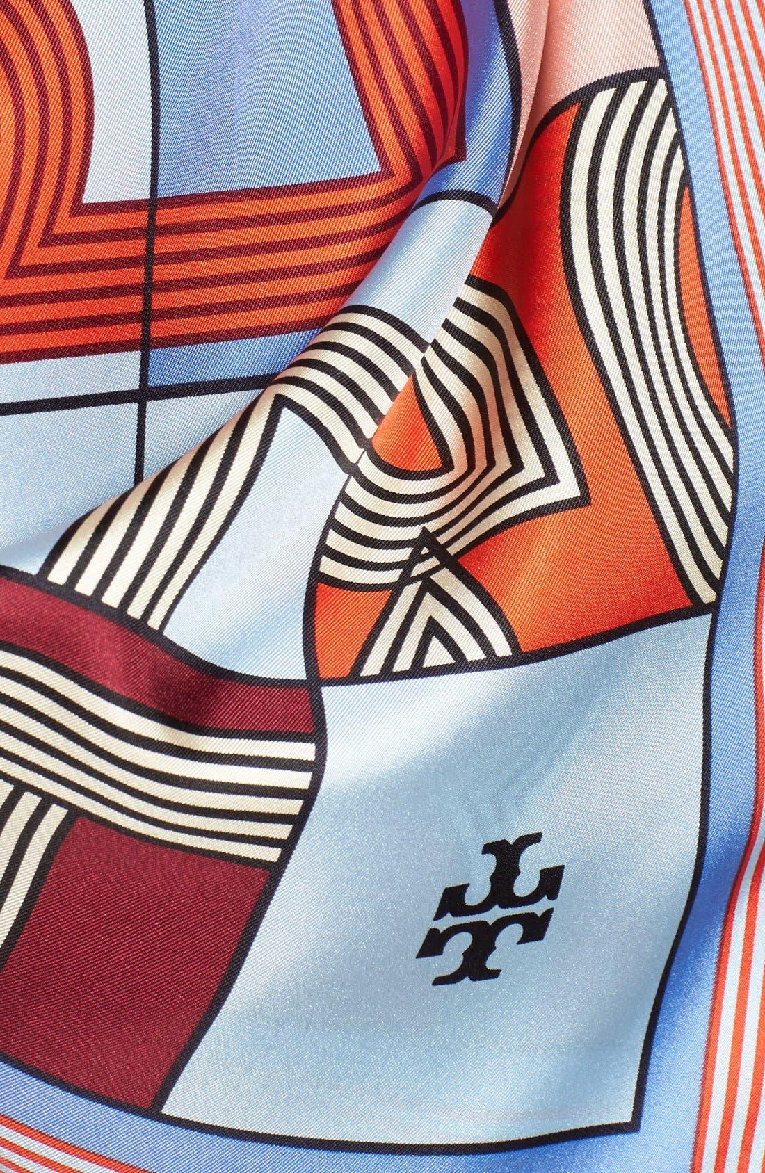 'Logo Puzzle' Silk Square Scarf,                             Alternate thumbnail 3, color,                             Poolside
