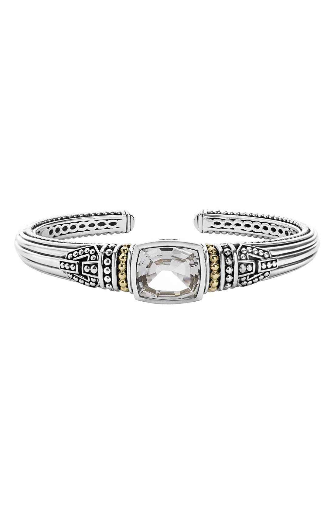 'Caviar Color' Semiprecious Stone Cuff,                         Main,                         color, White Topaz