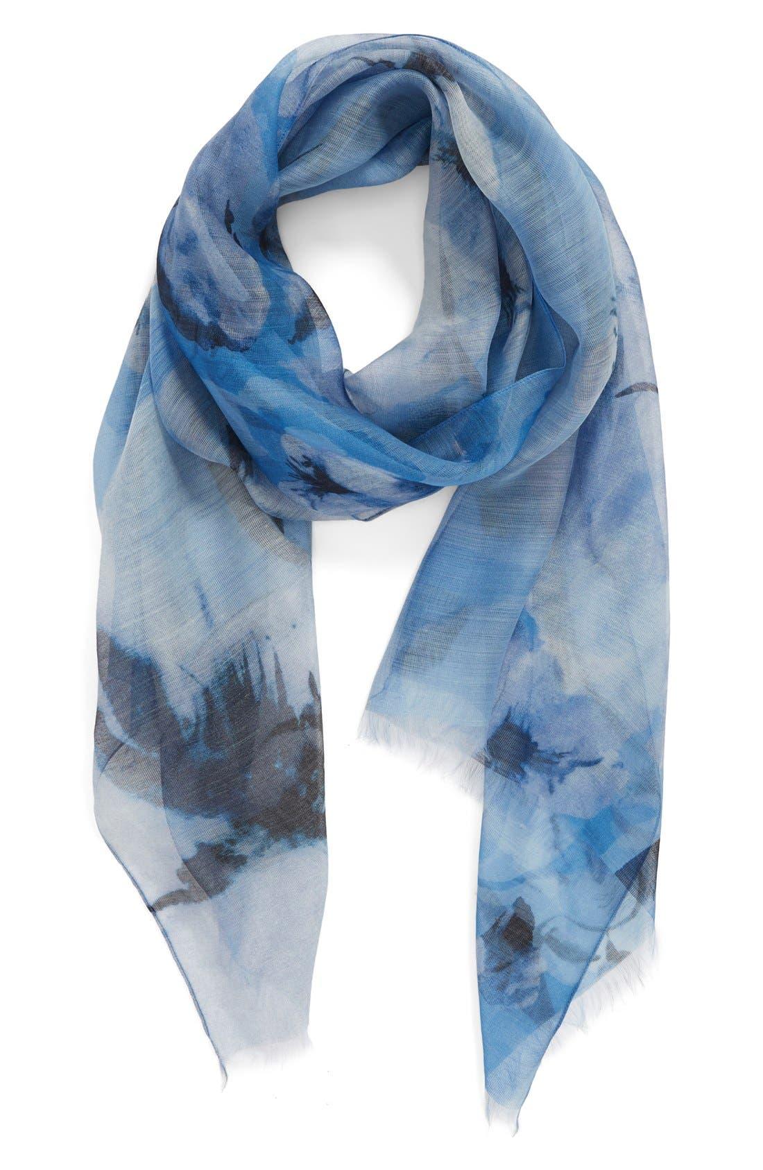 Badgley Mischka Floral Print Modal & Silk Scarf