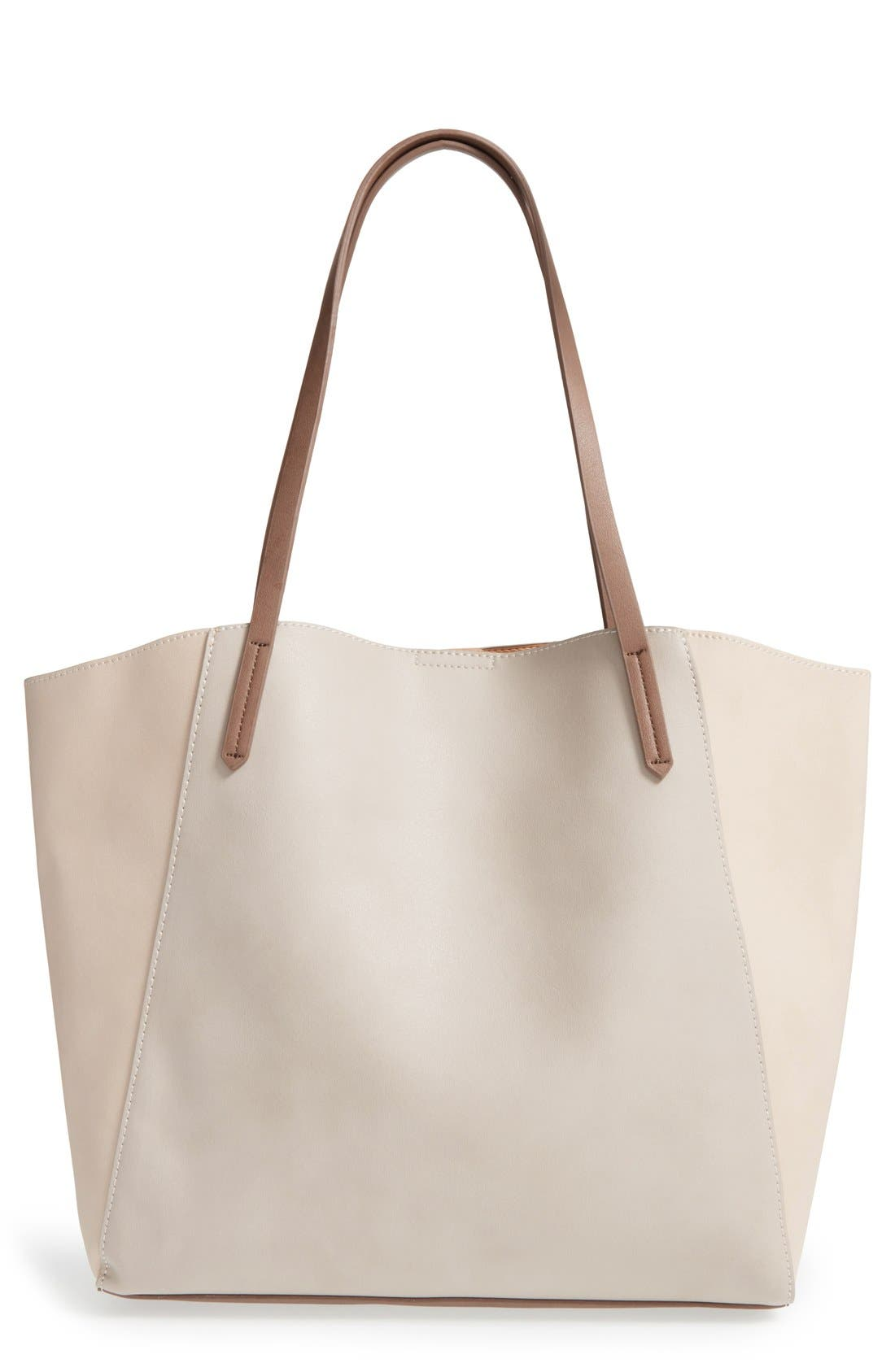Colorblock Faux Leather Tote,                             Main thumbnail 1, color,                             Tan