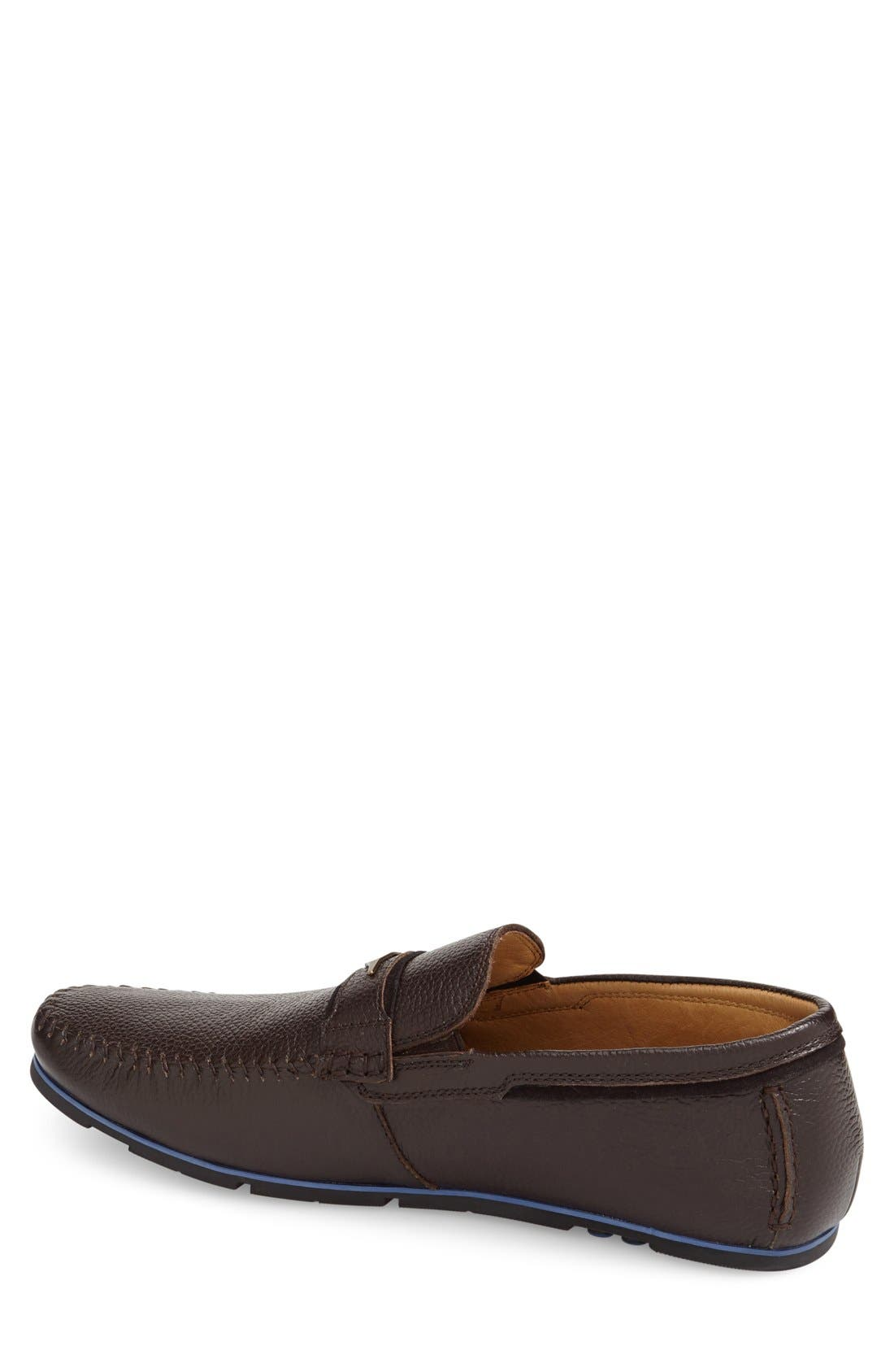 Leather Loafer,                             Alternate thumbnail 4, color,                             Brown Leather