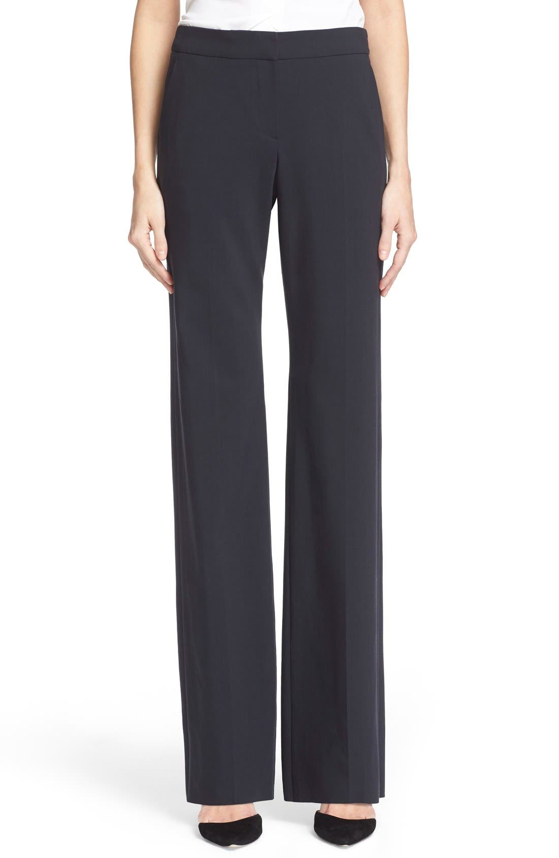 Armani Collezioni Straight Leg Featherweight Wool Pants