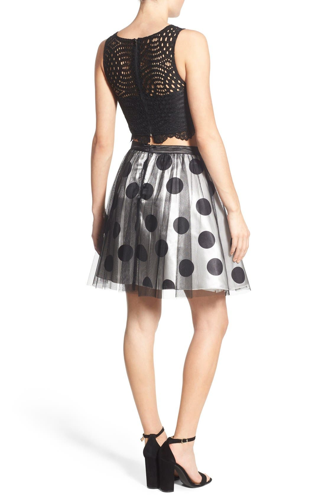 Alternate Image 2  - Sequin Hearts Two-Piece Dress