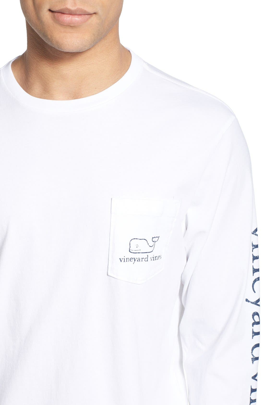 Pocket Long Sleeve T-Shirt,                             Alternate thumbnail 4, color,                             White Cap