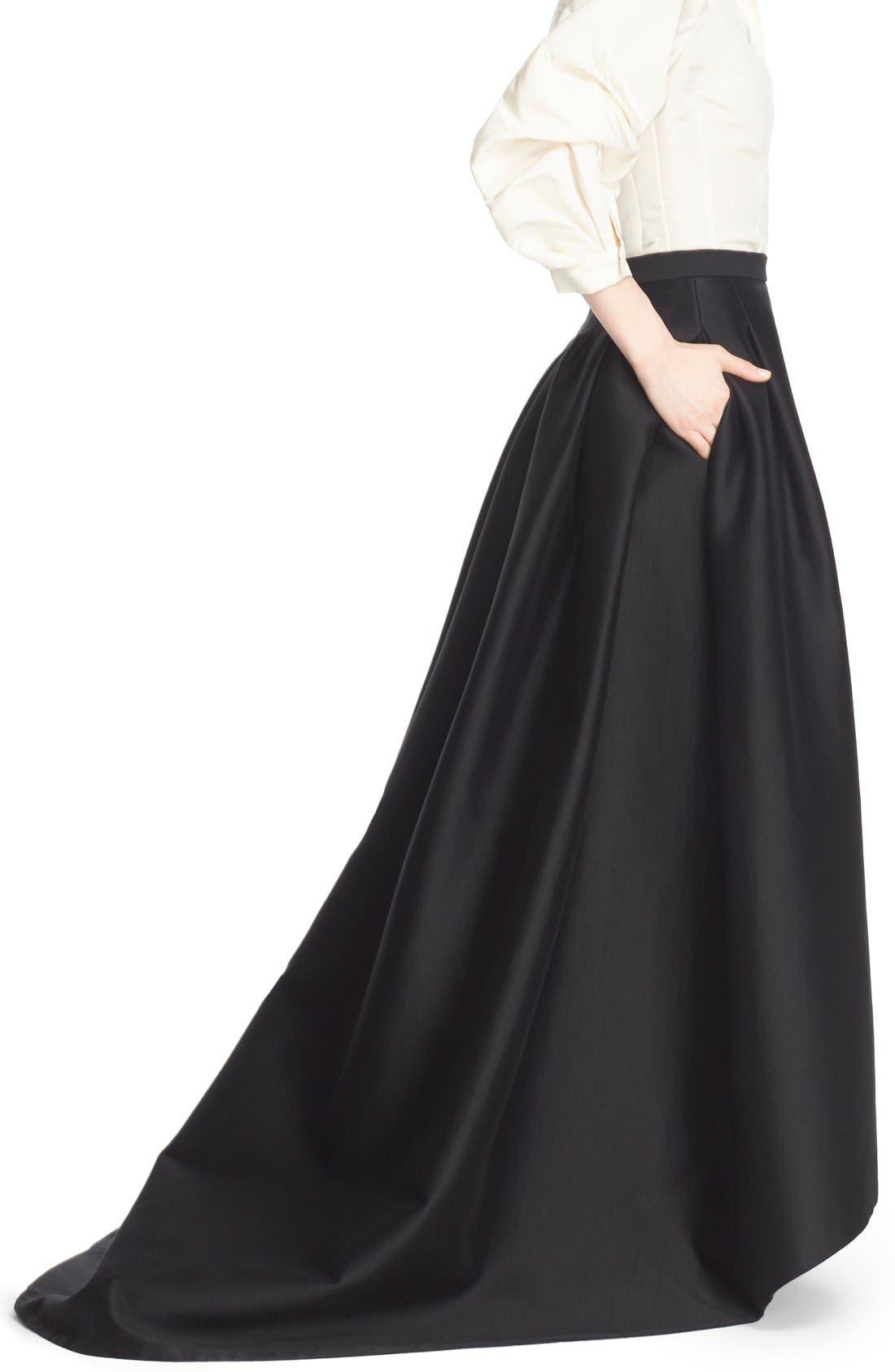 Full Length Evening Skirt,                             Alternate thumbnail 4, color,                             Black