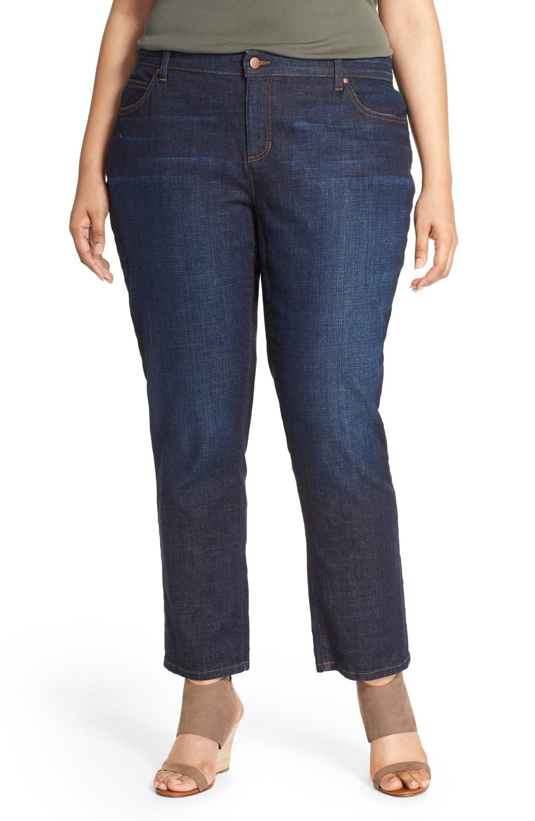Alternate Image 1 Selected - Eileen Fisher Straight Leg Crop Jeans (Plus Size)