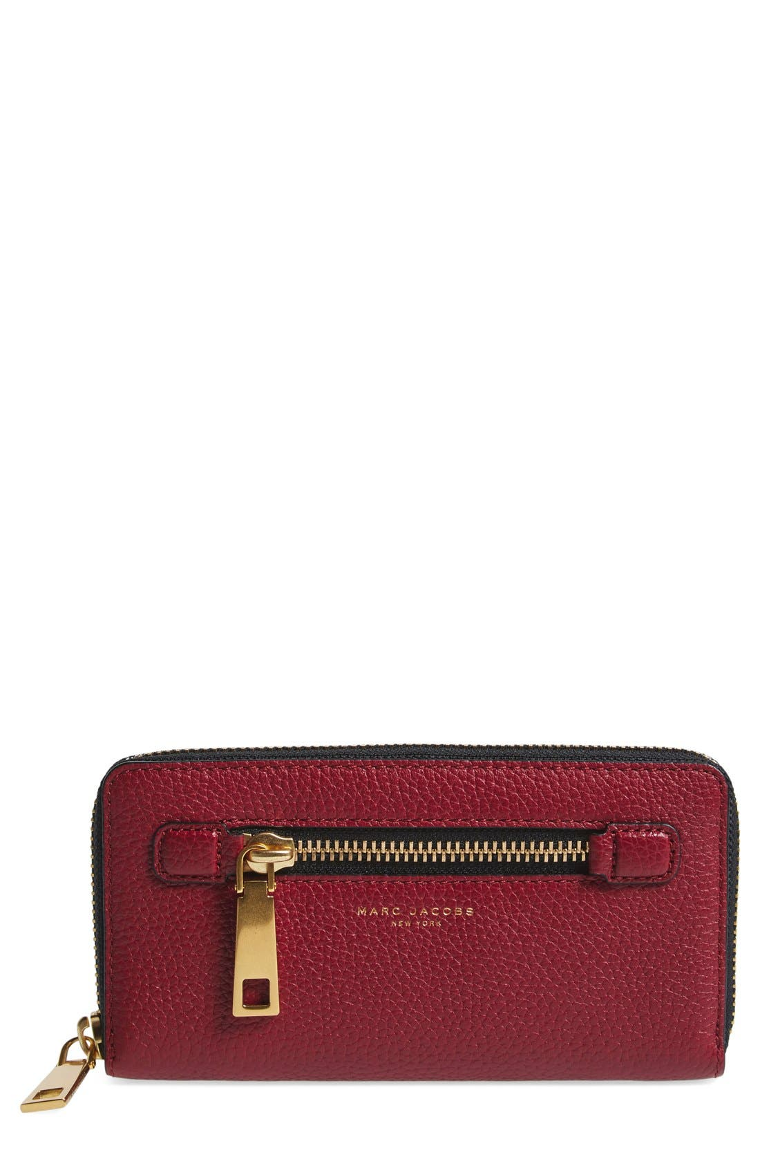 'Gotham' Leather Continental Wallet,                             Main thumbnail 1, color,                             Merlot