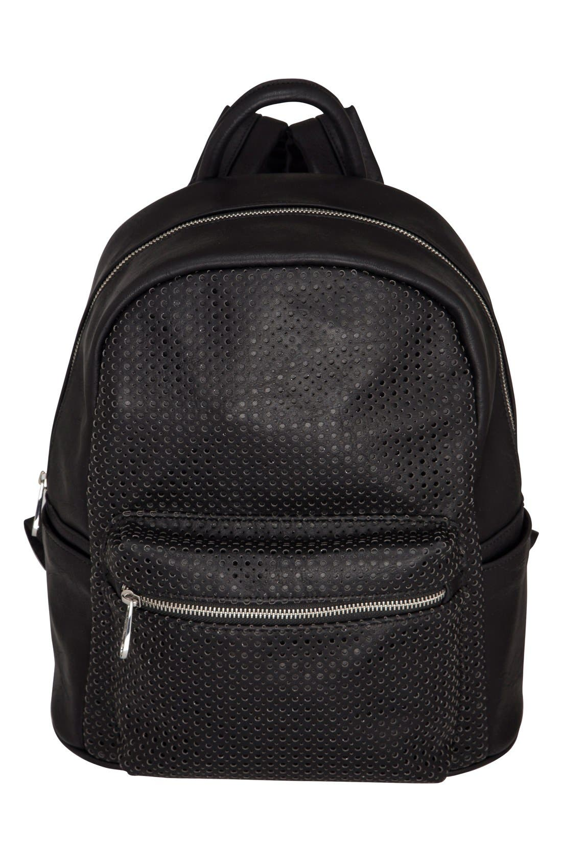 LOLA PERFORATED VEGAN LEATHER BACKPACK - BLACK