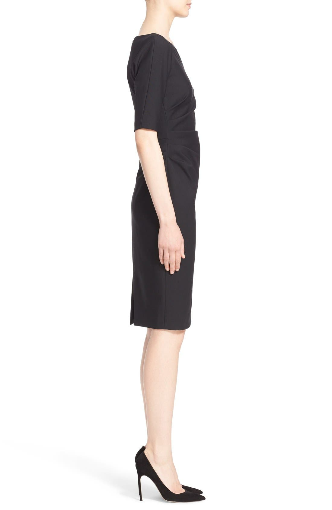 Side Ruched Stretch Twill Dress,                             Alternate thumbnail 5, color,                             Black