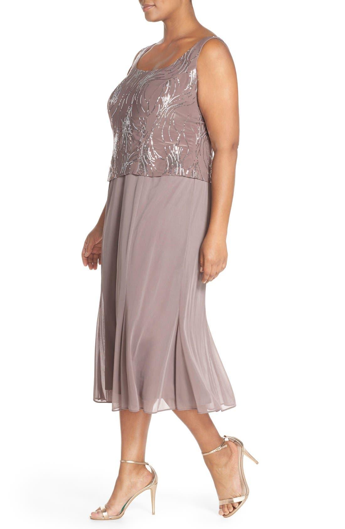 Alternate Image 3  - Alex Evenings Sequin Mock Two-Piece Dress with Jacket (Plus Size)