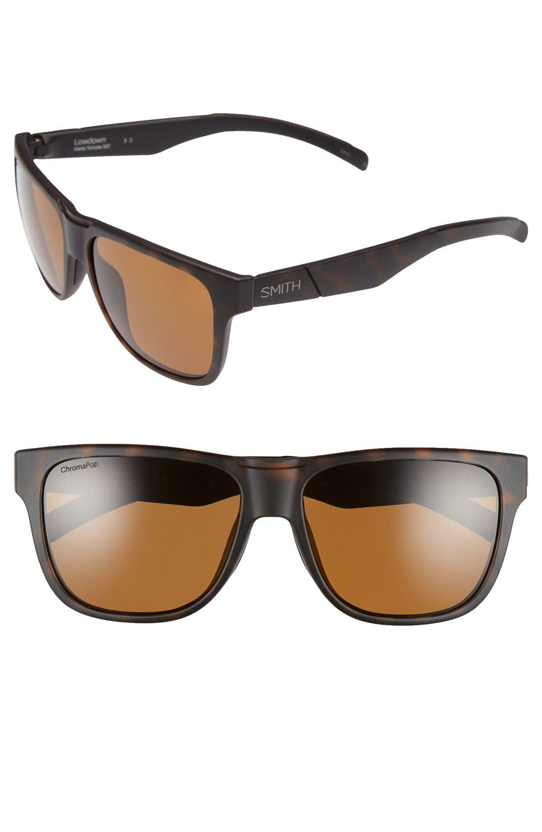 'Lowdown' 56mm Polarized Sunglasses,                             Main thumbnail 1, color,                             Matte Tortoise/ Polarized