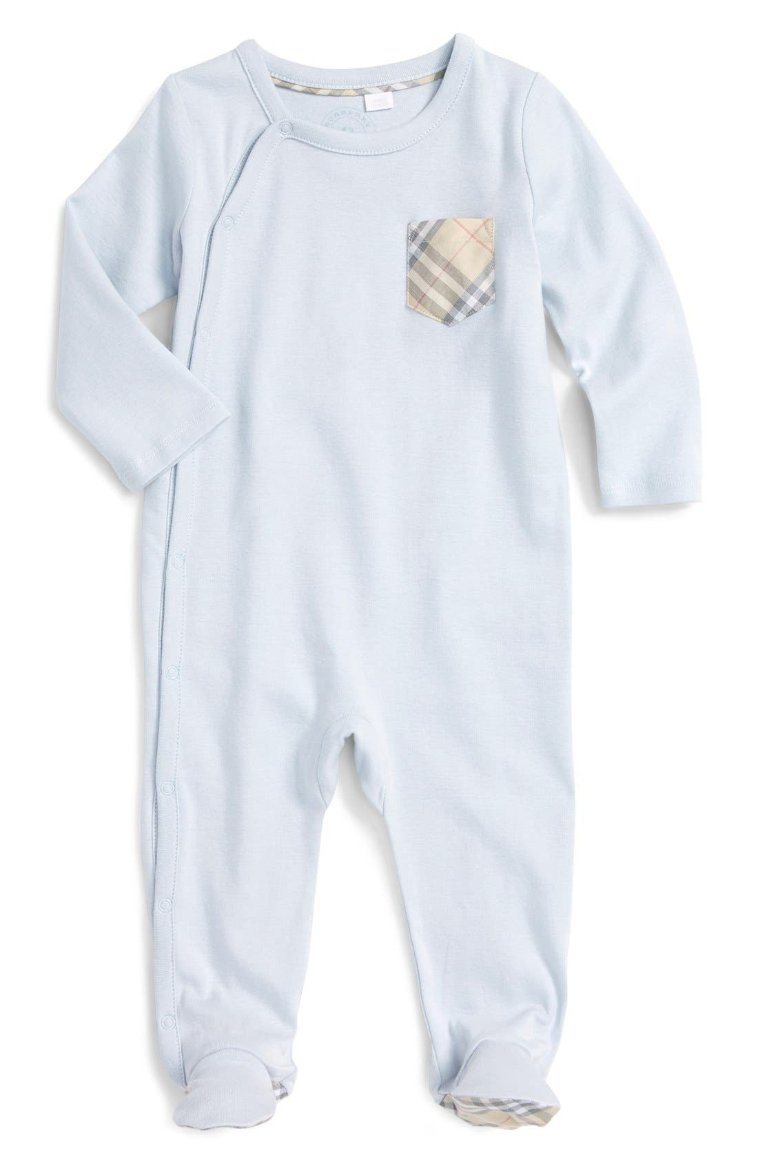 Main Image - Burberry 'Jaydin' Check Trim Cotton Footie (Baby Boys)