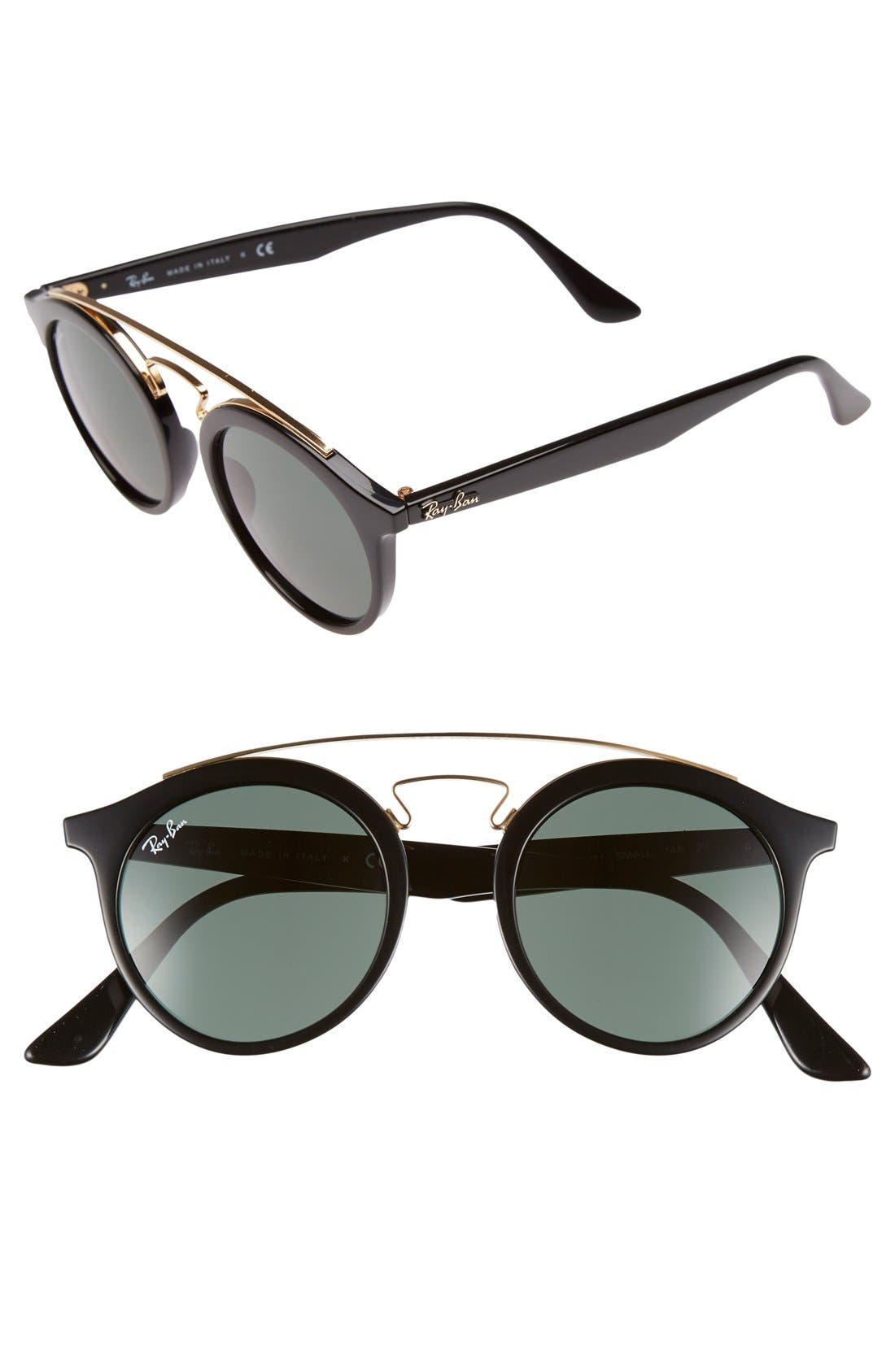 Highstreet 46mm Sunglasses,                             Main thumbnail 1, color,                             Black