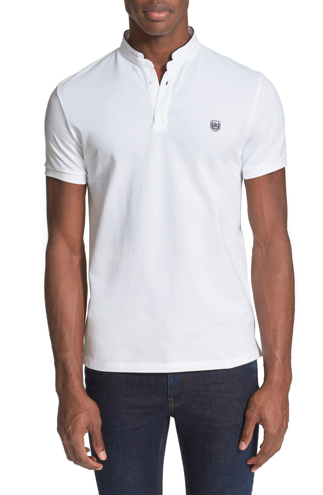 Main Image - The Kooples SPORT Pipe Trim Band Collar Piqué Polo