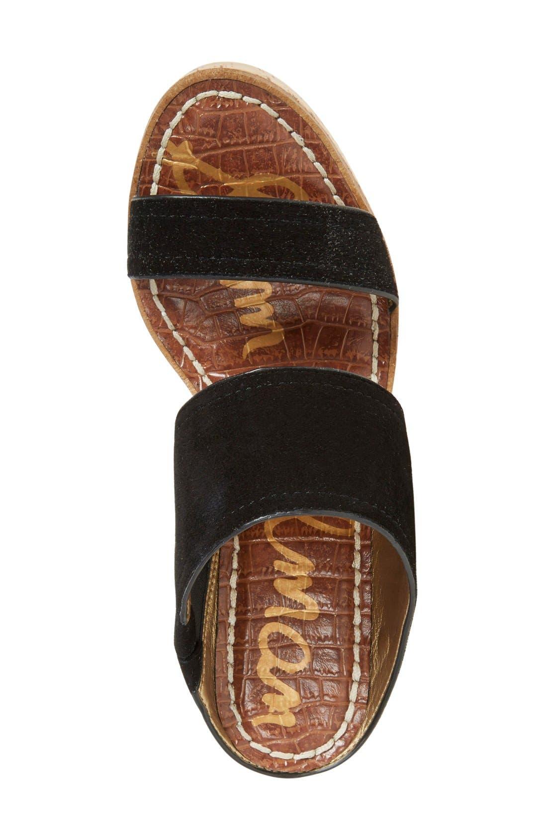 'Dali' Wedge Sandal,                             Alternate thumbnail 3, color,                             Black Suede