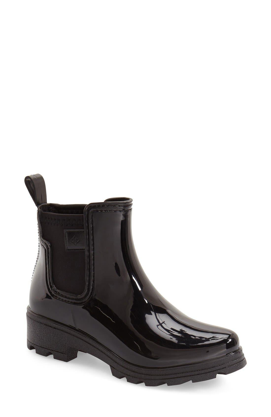'Prague' Waterproof Chelsea Rain Boot,                             Main thumbnail 1, color,                             Black