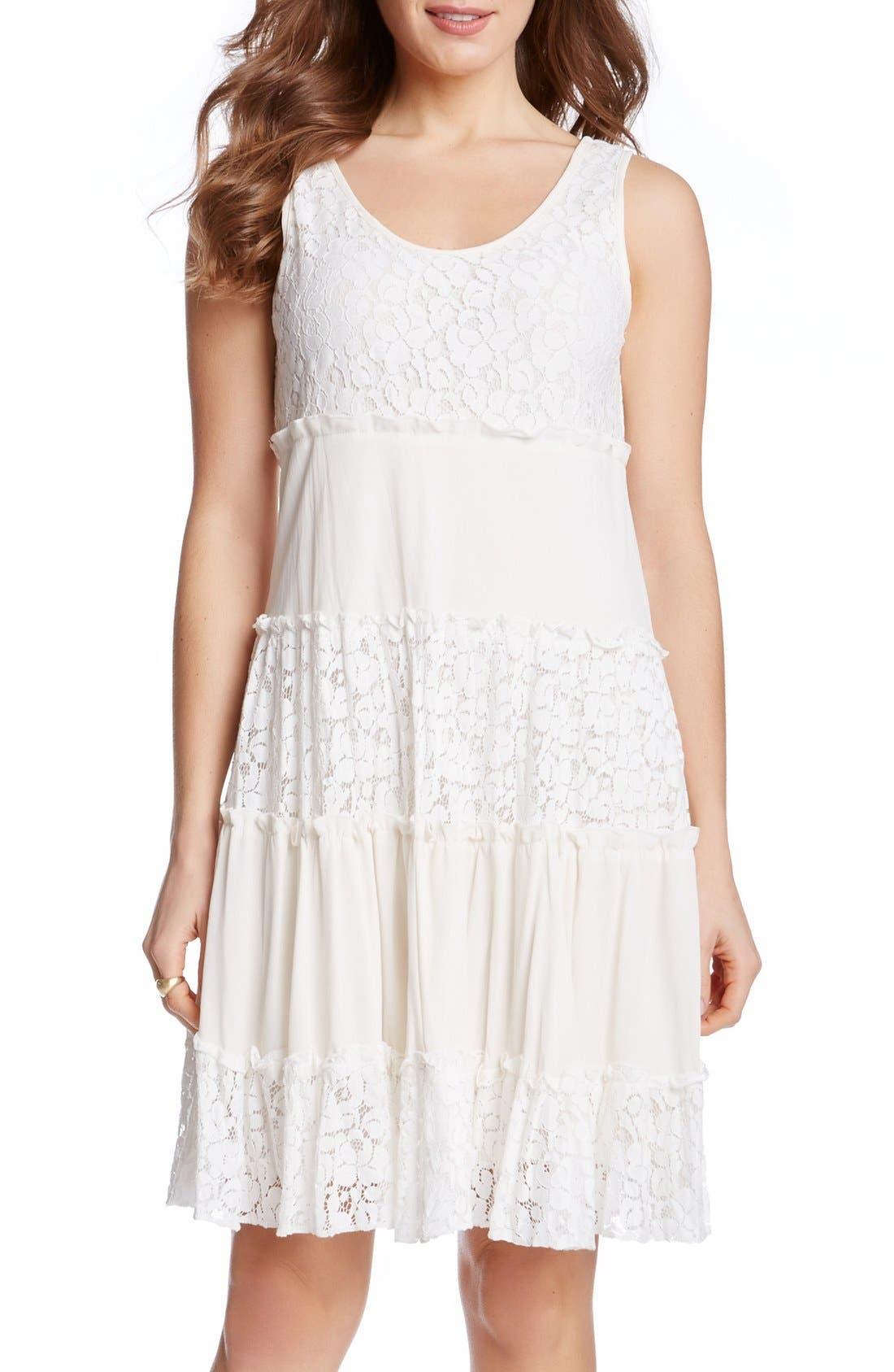 'Tara' Tiered Lace A-Line Dress,                             Main thumbnail 1, color,                             Cream