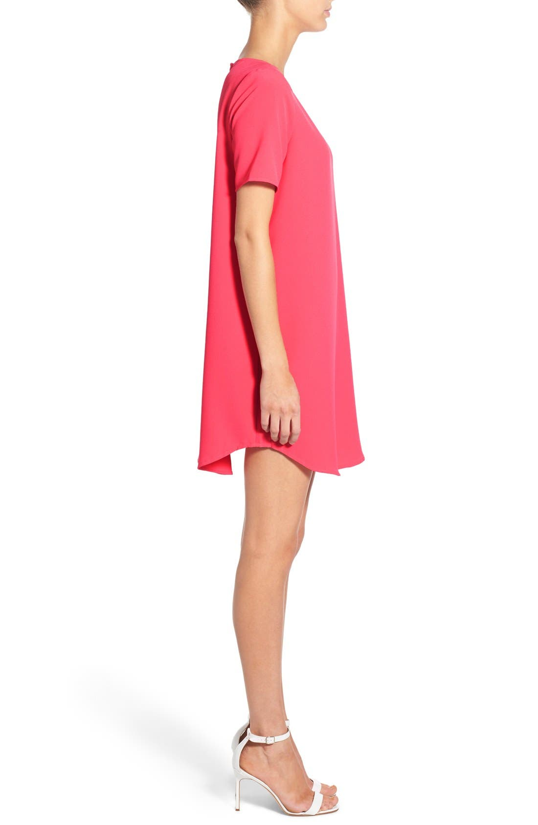 'Magnolia' Shift Dress,                             Alternate thumbnail 3, color,                             Flamingo