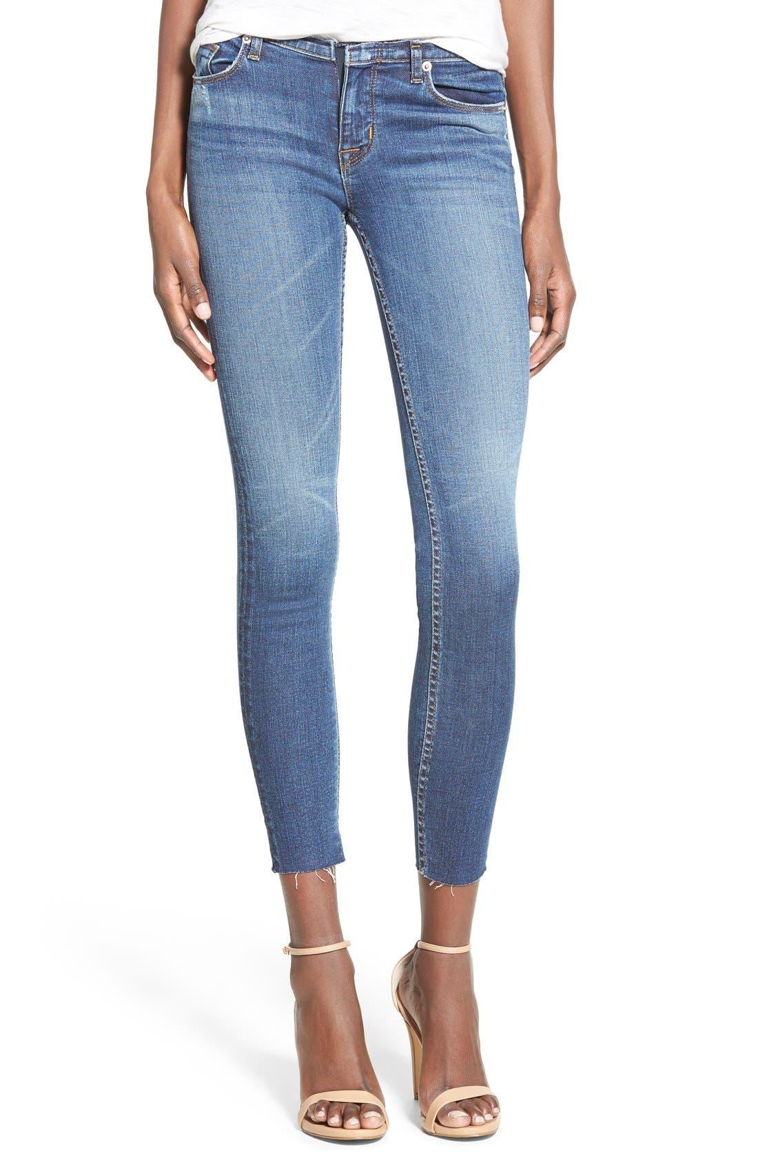 Alternate Image 1 Selected - Hudson Jeans 'Krista' Raw Hem Ankle Super Skinny Jeans (Point Break)