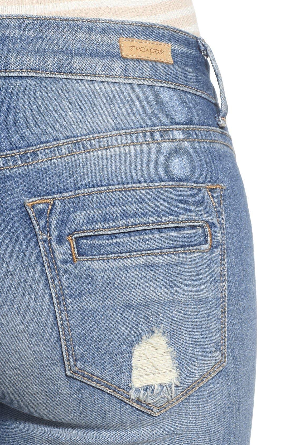 Alternate Image 4  - SP Black Distressed Skinny Jeans (Light Wash)