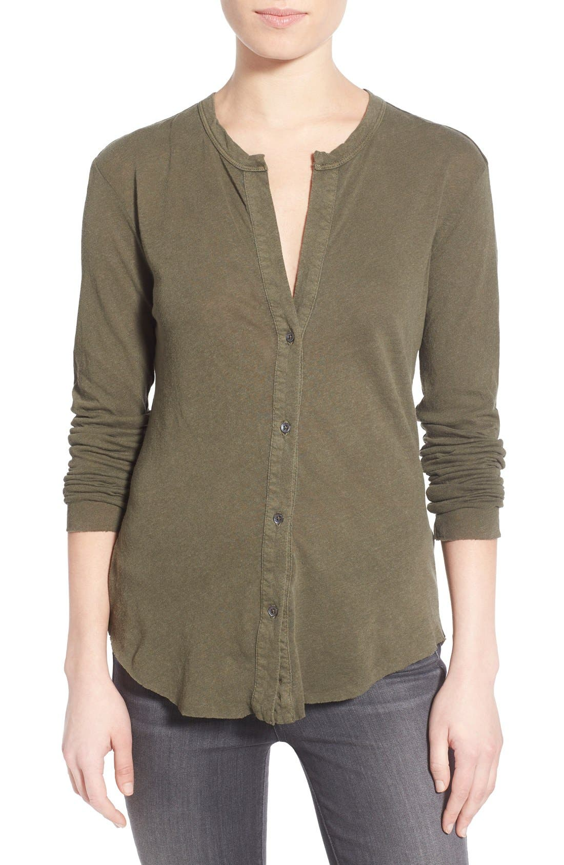 Alternate Image 1 Selected - James Perse Button Front Jersey Shirt