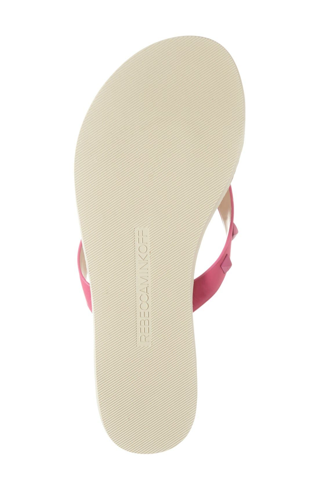 'Fiona' Thong Sandal,                             Alternate thumbnail 4, color,                             Fuchsia Nappa