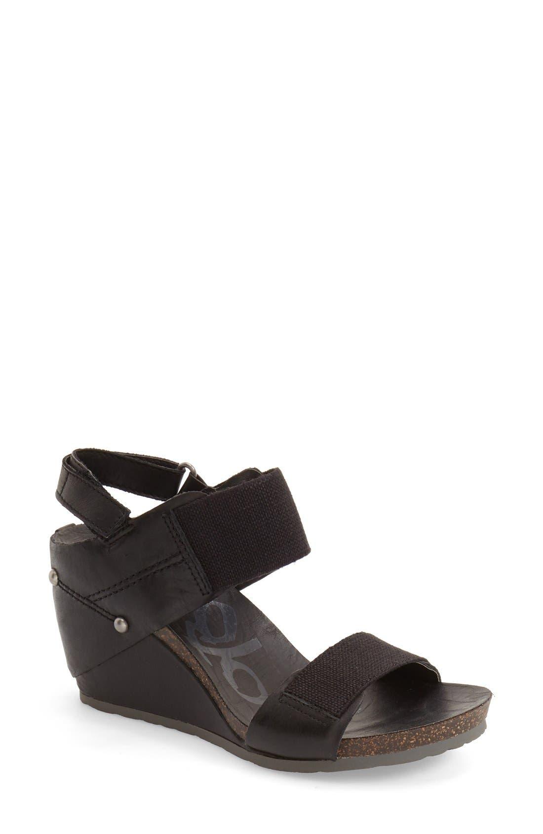 'Trailblazer' Wedge Sandal,                             Main thumbnail 1, color,                             Black Leather