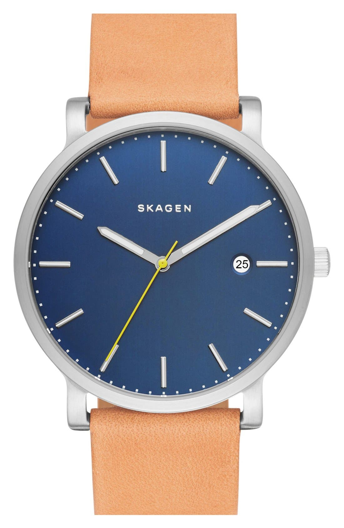 Hagen Leather Strap Watch, 40mm,                         Main,                         color, Natural/ Blue