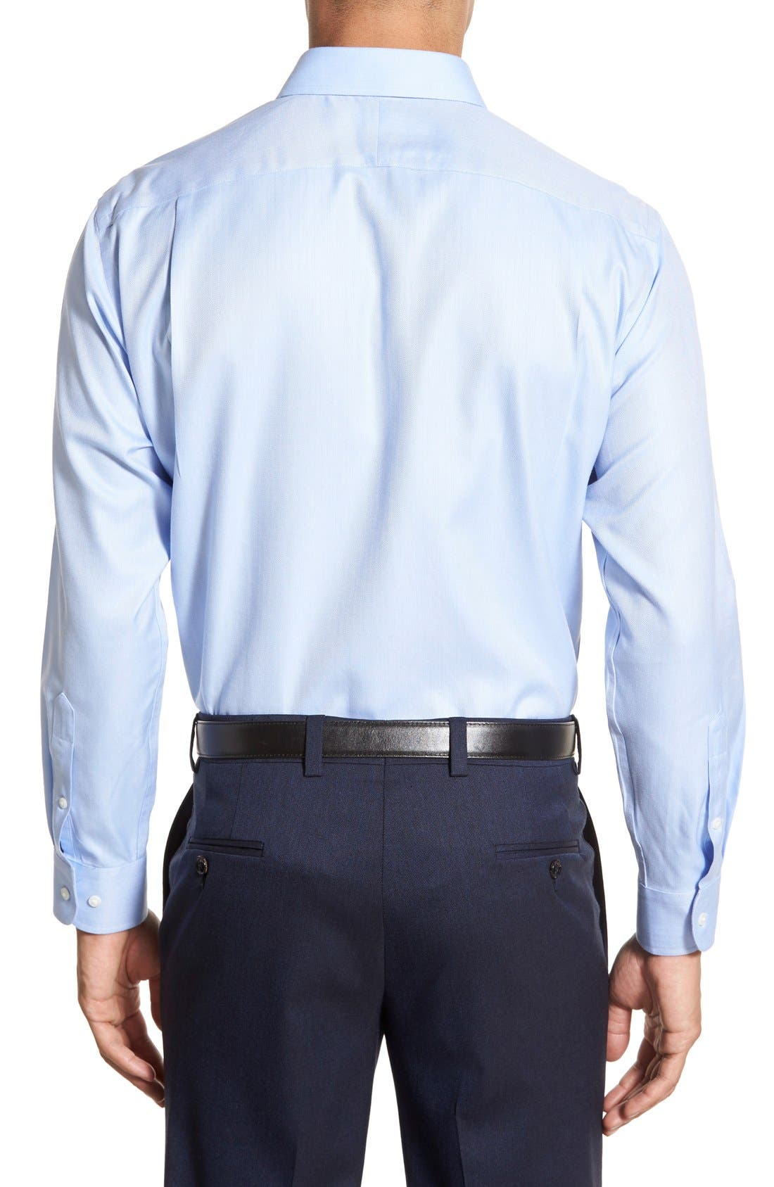 Smartcare<sup>™</sup> Trim Fit Herringbone Dress Shirt,                             Alternate thumbnail 2, color,                             Blue