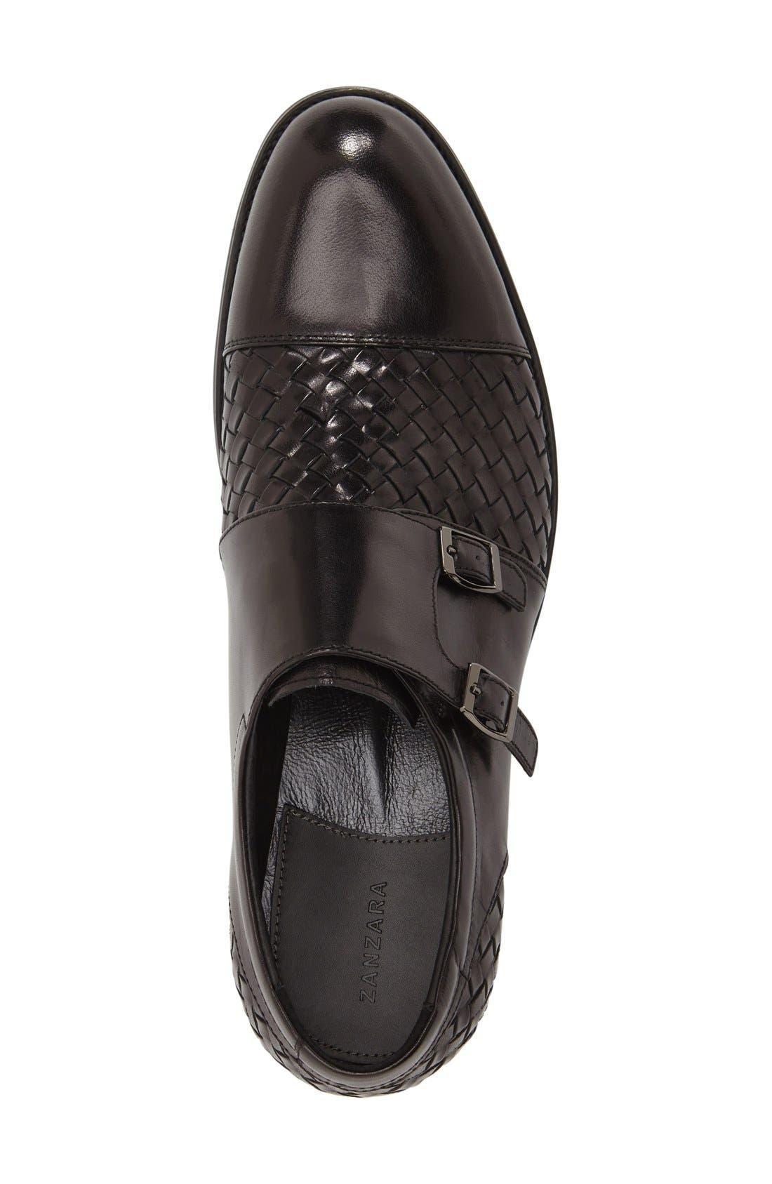 'Mahler' Monk Strap Shoe,                             Alternate thumbnail 3, color,                             Black Leather