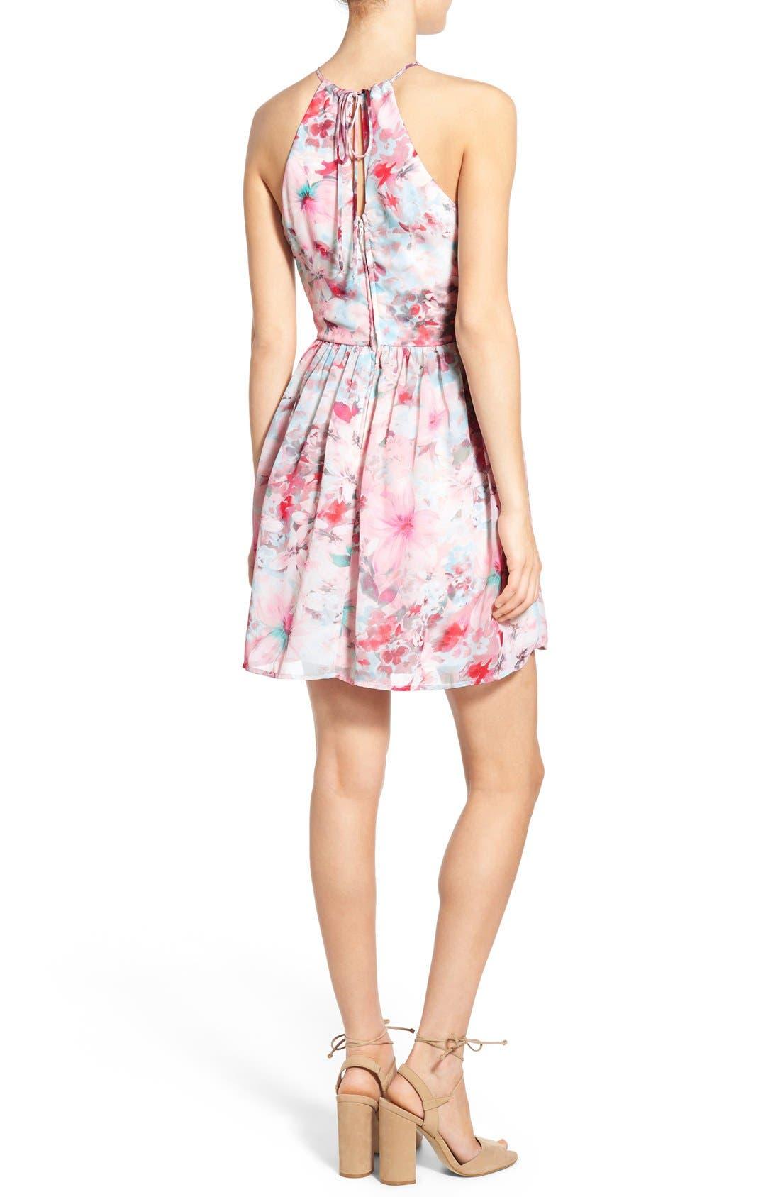 Alternate Image 2  - Trixxi Floral Print High Neck Skater Dress
