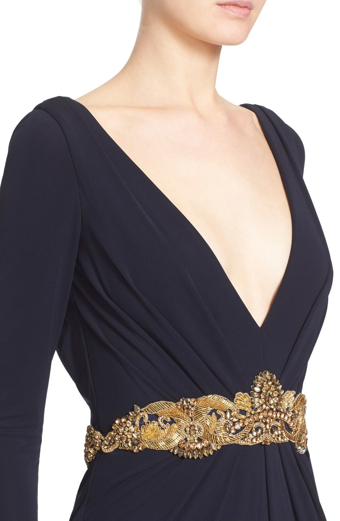 Couture Embellished Waist Plunging V-Neck Jersey Gown,                             Alternate thumbnail 6, color,                             Navy
