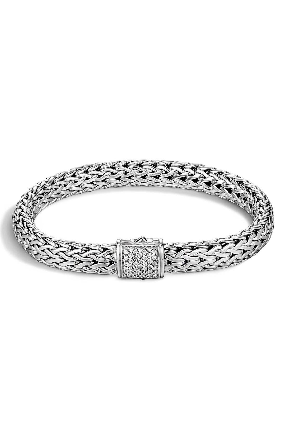 Classic Chain 7.5mm Diamond Bracelet,                             Main thumbnail 1, color,                             Silver