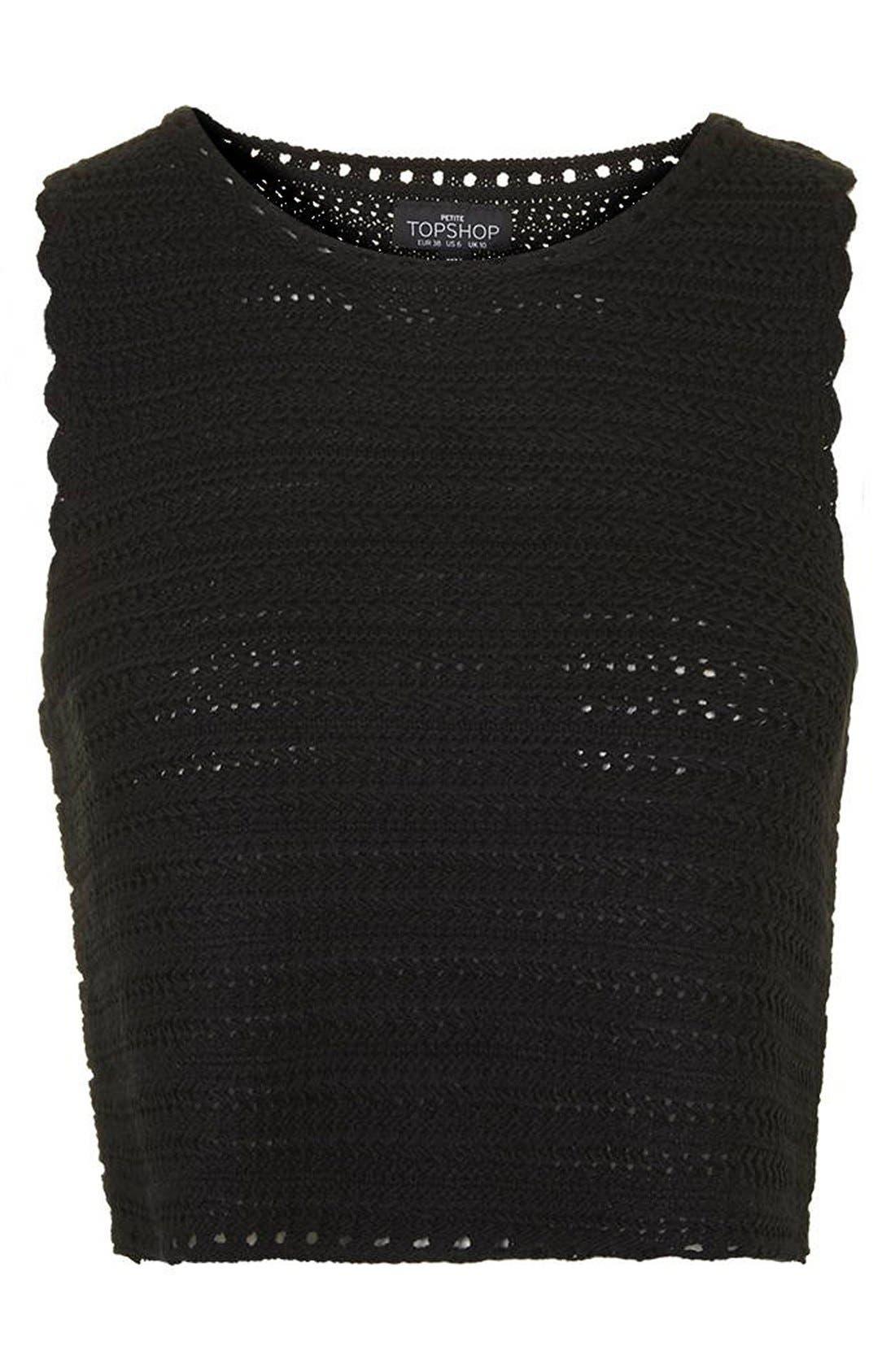 Alternate Image 4  - Topshop Square Stitch Crochet Tank (Petite)